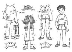 Karen`s Paper Dolls: Marc 1-3 Paper Doll to Colour. Marc 1-3 påklædningsdukke til at farvelægge.