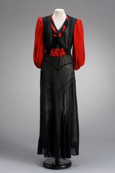Black and red sheer cotton mull dress, Hungarian, 1940s.