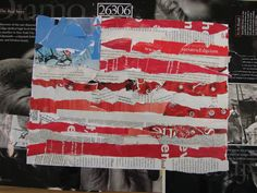 This was a fun collage to make with my fifth graders. They started out with a 9x12 piece of white paper where they sketched out the America...