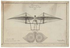 "An illustration of Jacob Degen's ""Flugmaschine,"" an 1800s design for a human-powered flying machine built in Vienna."