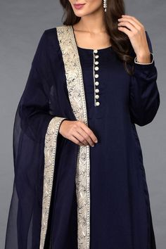 Midnight Blue pure satin silk salwar pants suit paired with Kashmiri Silver Tilla embroidered dupatta. The dupatta is crafted in pure organza silk and adorned with Kashmiri silver tilla embroidered borders all around. Neck Designs For Suits, Dress Neck Designs, Kurti Neck Designs, Kurta Designs Women, Kurti Designs Party Wear, Blouse Designs, Salwar Pants, Salwar Kameez, Churidar Designs