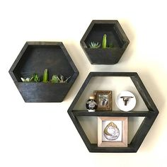 Please Note: This item does not come fully planted. These cute hexagon planters are great alone or in a grouping. Choose from several sizes and customize with your favorite stain color. Also, check out our hexagon shelves, which are the perfect compliment to the hexagon planter.