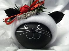 Black Cat Christmas Ornament, Tree Bulb Bauble, Hand Painted Glass, Personalized, word Meow, Red Yarn - Gray Good Bad Kitty Print Hat