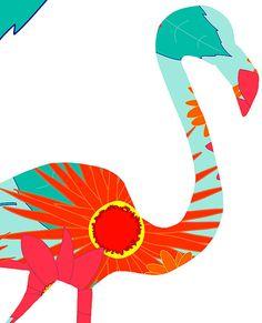 flamingo collage upclose