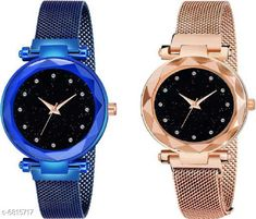 Watches HRV black dial 12 diamond studded with blue and gold magnetic strap Analog Watch - For Girls Analog Watch Strap Material: Metal Display Type: Analogue Size: Free Size Multipack: 2 Country of Origin: India Sizes Available: Free Size   Catalog Rating: ★4 (461)  Catalog Name: Classic Women Watches CatalogID_1087798 C72-SC1087 Code: 343-6815717-708