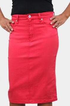 Jade Mackenzie - Orange Knee Length Denim Skirt, $45.00 (http ...