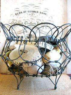 vintage wire baskets  | Vintage Folding Wire Egg Basket