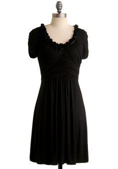 Dramatic Arts Dress - Black, Solid, Flower, Casual, A-line, Short Sleeves, Mid-length, Scoop