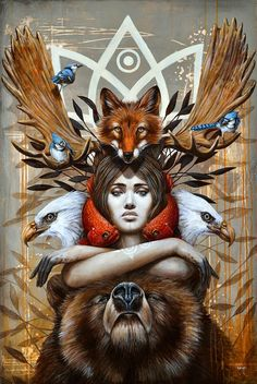 Kwanita Art Print by Sophie Wilkins - totem, bear, fish, bird,woman You are in the right place about Kwanita Art Print by sophiewilkins Ta - Art And Illustration, Psychedelic Art, Native Art, Native American Art, Fantasy Kunst, Fantasy Art, Shaman Woman, Art Visionnaire, Celtic Mythology