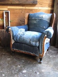 denim upcycled chair