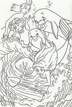 The girls and the Dolphins of Coral Cove find a Mermaid Coloring Pages, Cute Coloring Pages, Cartoon Coloring Pages, Disney Coloring Pages, Coloring Books, Free Adult Coloring, Coloring Sheets For Kids, Printable Adult Coloring Pages, Ariel Color
