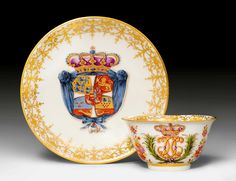 IMPORTANT MEISSEN TEABOWL AND SAUCER FROM THE SERVICE OF KING CHRISTIAN VI., KING OF DENMARK, Meissen, ca. 1730-1735. Teabowl with crowned monogram of Christian VI. The saucer painted with the royal coat-of-arms of Denmark, crowned by a purple-lined royal crown. Underglaze blue sword mark, gilder's number 1 on both pieces. Incised mark / in the base rings. D saucer 12.7 cm, D teabowl 8 cm, H 4.5 cm. (2) Provenance: - a present from Augustus the Strong, King of Poland and Elector of Saxony…