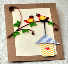 Quilled birds Paper Quilling Handmade Quilled Blank card Home