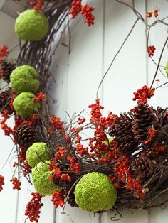 Hedge Apple Grapevine Wreath Take advantage of natural fall colors and incorporate chartreuse hedge apples and rich, orange bittersweet into your fall decor. Simply adhere your decorations onto a grapevine wreath using thin-guage wire. The combination of apples, bittersweet, and pinecones makes a beautiful variety of colors and textures for a festive door wreath.