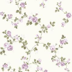 Luxury Shabby Chic Vintage Purple Floral Rose Trail Kidston Styl Cream Wallpaper