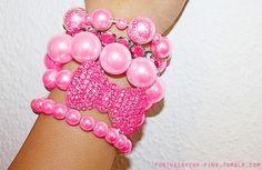 Cute pink pearl and bow Bracelets Bracelets Roses, Bangles, Beaded Bracelets, Necklaces, Stackable Bracelets, Layered Bracelets, Pink Lady, Pretty In Pink, Bow Bracelet