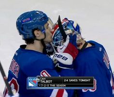 """Every kiss begins with """"K"""", Kreider that is. :) #KissCam"""