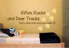 Rifles Racks and Deer Tracks Vinyl Wall  Art by designstudiosigns, $37.00