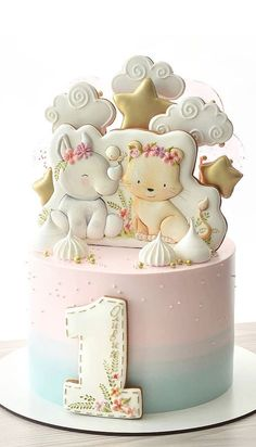 15 The Cutest First Birthday Cake Ideas, 1st birthday cakes First Birthday Cake Pictures, 1st Birthday Cake For Girls, Cute Birthday Cakes, Beautiful Birthday Cakes, Baby Boy Cakes, Cakes For Boys, Girl Cakes, Baby Shower Cakes, Wedding Colours