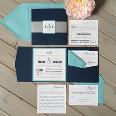 Nautical Wedding Invitations Navy and Teal by InspirationIDoDesign