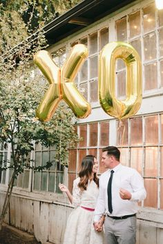 XO balloons gold silver foil mylar 34 letter by OhShinyPaperCo