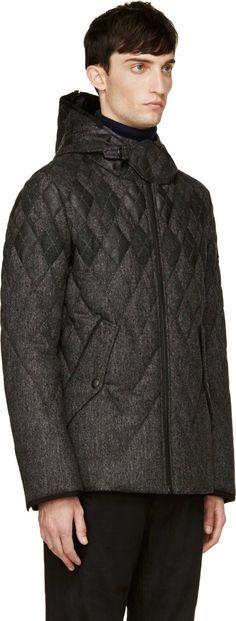 Moncler Gamme Bleu Grey Wool & Fur Quilted Argyle Jacket