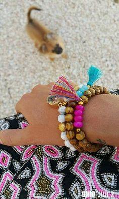 Handmade 'Island girl ' bracelets gold by UNIQ|JWLZ, photobombed by my lovely dog Muffin  www.facebook.com/uniq-jwlz