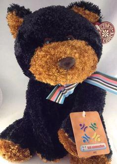 "Dan Dee Plush Bear Stuffed 10"" 25cm Brown Black Teddy Bear Animal Sits New Bow | eBay"