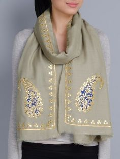 Light Olive Cashmere Wool Gota Patti Hand Embellished Stole write to us at…