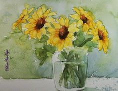 Sunflowers in Glass - Watercolor Paintings by                        RoseAnn Hayes