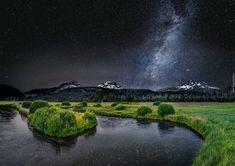 Rzeka, Niebo, Droga Mleczna, Gwiazdy, Góry, Noc