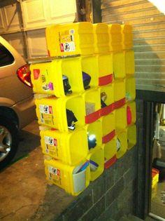 Repurposed  Kitty Litter Storage Rack