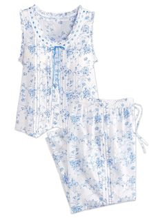 The Ella Simone Blue Danube Capri-Style Cotton Pajama Set includes a sleeveless top and capri length bottoms. Night Suit, Night Gown, Cute Lazy Outfits, Pencil Skirt Black, Pencil Skirts, Night Dress For Women, Cotton Pyjamas, Nightwear, Baby Dress