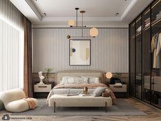 Modern Classic Bedroom, Modern Classic Interior, Contemporary Bedroom, Interior Design Renderings, Showroom Interior Design, Residential Interior Design, Home Design Decor, Dream Home Design, Bed Design