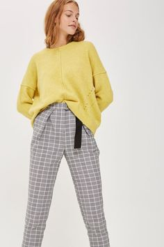 PETITE Check Belted Peg Trousers