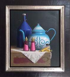 Klaas Wiedijk | Stilleven Sfeervol ingelijst #stilleven 'Peper en zoutstel' van Klaas Wiedijk. Dit schilderij is te koop via #Kunstmarktplaats.nl http://kunstmarktplaats.nl/ads/klaas-wiedijk-stilleven/ #kunst #art #painting #realisme #Wiedijk #peperenzout