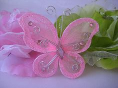 12 pcs 3 Pink Nylon Butterflies for Wedding by TinyLittleCharms