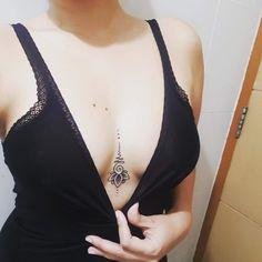 Boob Tattoo, Bikini Tattoo, Full Body Tattoo, Mini Tattoos, Sexy Tattoos, Cute Tattoos, Body Art Tattoos, Unalome Tattoo, Sternum Tattoo
