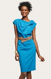 Suzi Chin for Maggy Boutique Belted Cap Sleeve Sheath Dress