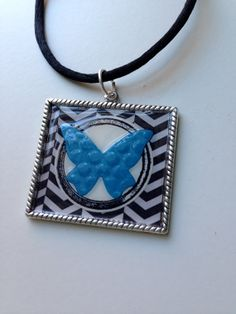 Butterfly Chevron Roped Pendant Necklace
