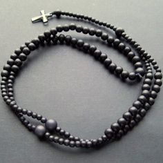 Black wooden beaded rosary with small swarovski crystal cross for men