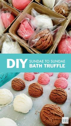 Make Your Own Bath Truffles With The Sundae to Sundae Bath Truffle Recipe- omit .Make Your Own Bath Truffles With The Sundae to Sundae Bath Truffle Recipe- omit the dyes Diy Beauté, Diy Spa, Diy Crafts, Bath Bomb Recipes, Soap Recipes, Bath Boms, Bombe Recipe, Bath Melts, Orange Creamsicle
