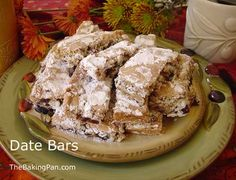 Include this scrumptious Date Bars recipe in your holiday baking. If you like dates, you will love this cookie. Gourmet Recipes, Baking Recipes, Cookie Recipes, Dessert Recipes, Christmas Desserts, Christmas Treats, Holiday Foods, Christmas Goodies, Christmas Holiday