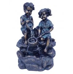 Alpine 14 in. Two Kids Playing with Water Tabletop Fountain - Bronze - Patio Fountain, Tabletop Water Fountain, Garden Fountains, Indoor Tabletop Fountains, Fountains For Sale, Water Play, Light Decorations, Kids Playing, A Team