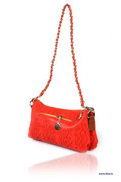 Contemporary Bright Red Python Emboss Sling –    Body Crafted In Unique Leopard Emboss Leatherette, Long Line Chain Shoulder Strap, Zipped Compartments in the Lining, Secured Body through Zip Mouth Opening, and Hardware in Gold. - Rs. 1,700.00