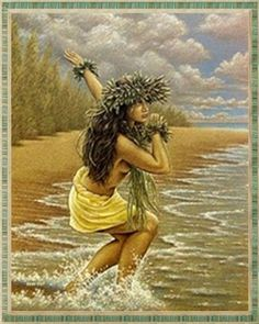 beautiful art by Hawaiian local, Eddie Y from the big island, Hawaii. Hawaiian Dancers, Hawaiian Art, Hawaiian Quotes, Hawaiian People, Hawaiian Girls, Vintage Hawaiian, Polynesian Dance, Polynesian Culture, Hawaii Hula