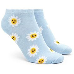 Forever21 Daisy Print Ankle Socks ($1.90) ❤ liked on Polyvore featuring intimates, hosiery, socks, forever 21, tennis socks, ankle socks, forever 21 socks and short socks