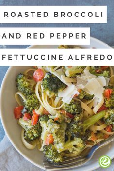 Roasted Broccoli and Red Pepper Fettuccine Alfredo   eMeals.com