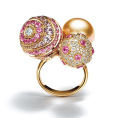 Tiffany Masterpieces Prism ring with diamonds south sea pearl and pink sapphires