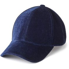 Echo Velvet Baseball Hat ($25) ❤ liked on Polyvore featuring accessories, hats, navy blue, navy baseball hat, baseball cap hats, navy blue ball cap, navy blue hat and baseball hats